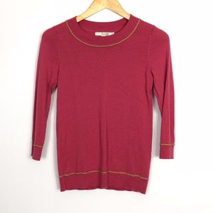 Boden Pink & Gold Sweater 3/4 Sleeves US 2 UK 6